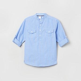 MAX Striped Full Sleeves Band Collar Shirt