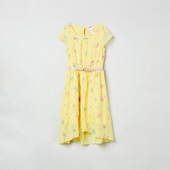 MAX Cutaway Sleeves Floral Print Dress with Belt