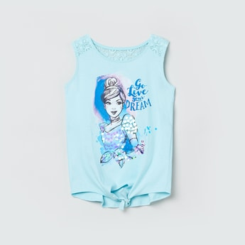 MAX Graphic Print T-shirt with Lace Panel