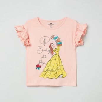 MAX Disney Princess Print T-shirt with Ruffled Sleeves