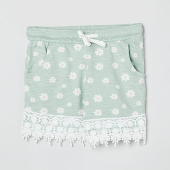 MAX Floral Print Shorts with Lace Hem
