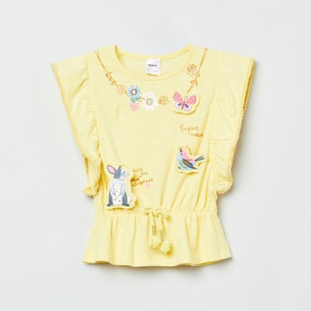 MAX Printed Top with Gathered Detailing