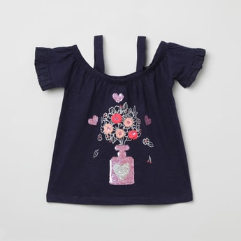 MAX Embroidered Cold-Shoulder Top