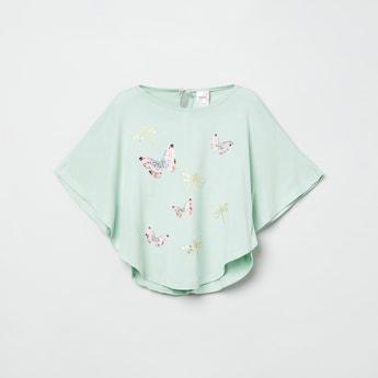 MAX Printed Cape Sleeves Top