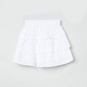 MAX Schiffli Detailed Tiered Skirt