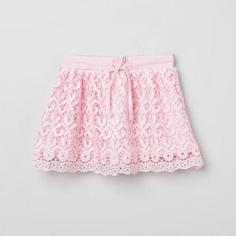 MAX Scalloped Hem Crochet A-line Skirt