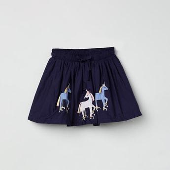 MAX Appliqued Drawstring Waist Circular Skirt
