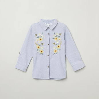 MAX Floral Embroidery Striped Casual Shirt