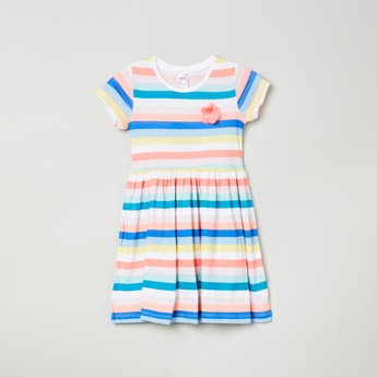 MAX Striped Short Sleeves A-line Dress