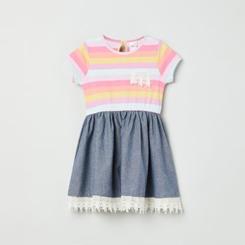 MAX Striped Short Sleeves Dress