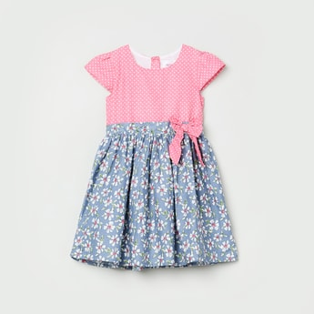 MAX Printed Woven Dress with Bow Applique