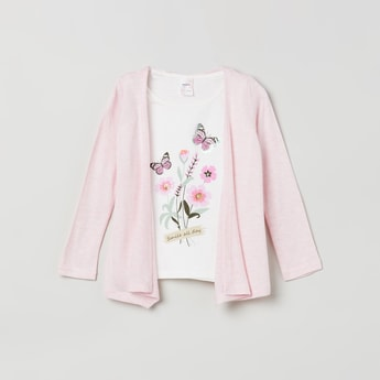 MAX Floral Print Sequinned Twofer Top