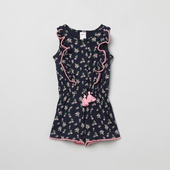 MAX Floral Print Fit & Flare Dress with Bobble Trim