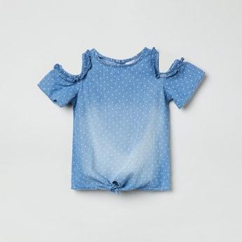 MAX Printed Cold-Shoulder Top