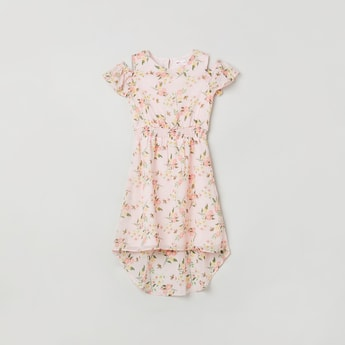 MAX Floral Print Asymmetric Hem Dress
