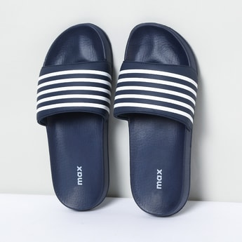 MAX Textured Slip-On Slippers with Striped Strap