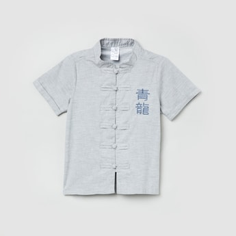 MAX Embroidered Mandarin Collared Shirt