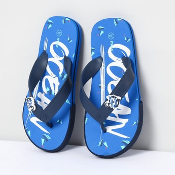 MAX Typographic Print Flip-Flops with Applique