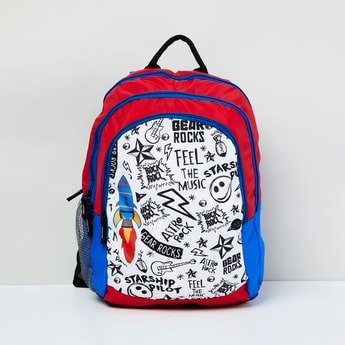 MAX Doodle Print Colourblock School Backpack