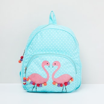MAX Printed Backpack with Pompoms