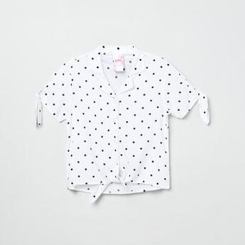 MAX Dot Print Tie-Up Hem Shirt