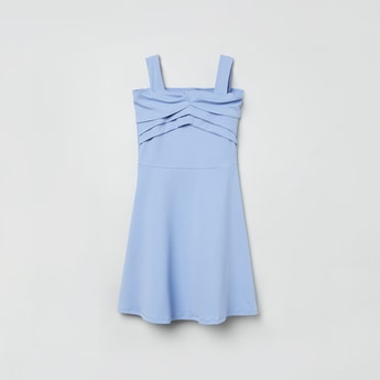 MAX Solid Panelled A-line Dress