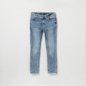 MAX Stonewashed Embellished Slim Fit Jeans