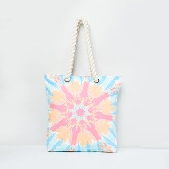 MAX Printed Tote Bag with Braided Handles
