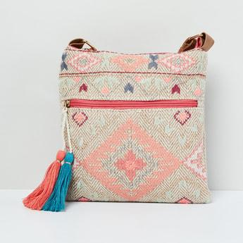 MAX Patterned Weave Tasselled Tote Bag