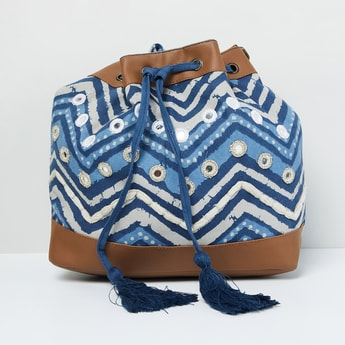 MAX Chevron Print Sling Bag with Mirror Work