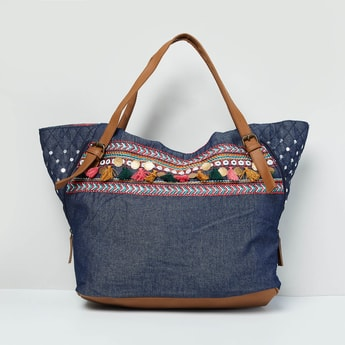 MAX Embroidered Denim Tote Bag