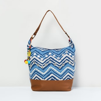 MAX Chevron Print Hobo Bag with Mirror Work
