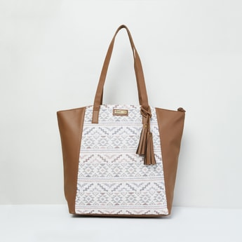 MAX Patterned Weave Colourblock Tote Bag
