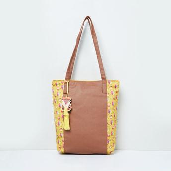 MAX Printed Colourblocked Tote Bag