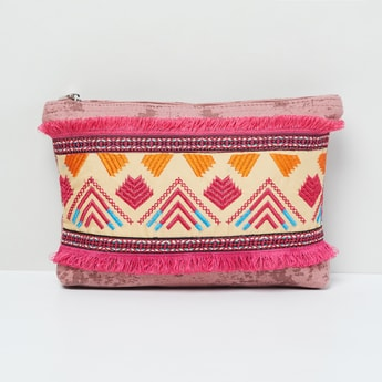 MAX Embroidered Tote Bag with Tassels