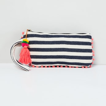 MAX Striped Pouch with Bobble Trim