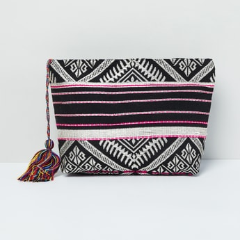 MAX Patterned Weave Tote Bag with Tassels