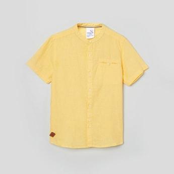 MAX Textured Short Sleeves Band Collar Shirt