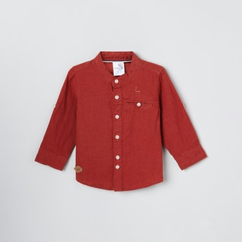 MAX Solid Band Collar Casual Shirt