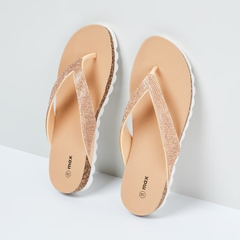 MAX Embellished V-strap Slippers