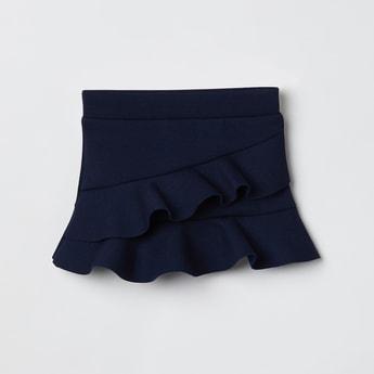 MAX Solid Ruffled Hem Skirt