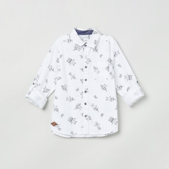 MAX Printed Shirt with Roll-Up Tab Sleeves
