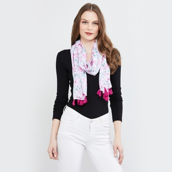 MAX Floral Printed Scarf with Tassels