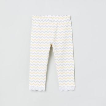 MAX Chevron Print Lace Trimmed Leggings