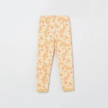 MAX Floral Print Leggings with Lace Hem