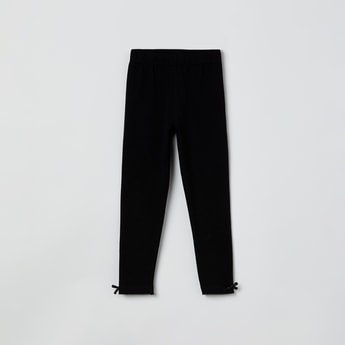 MAX Solid Bow Trimmed Leggings