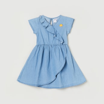 MAX Solid A-line Denim Dress