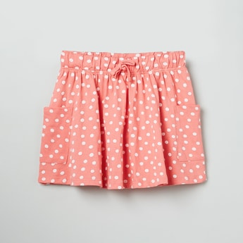 MAX Polka-Dot Print Skirt with Patch Pocket