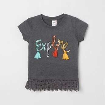 MAX Sequinned T-shirt with Lace Hemline
