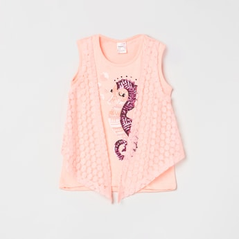 MAX Sequinned Floral Lace Twofer T-shirt
